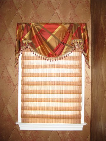 sheer hobbled roman with empire valance