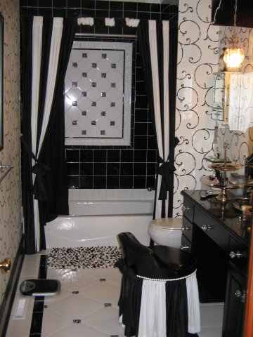 shower curtain and stool